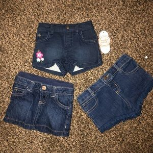 NWT jean skirt and jean shorts
